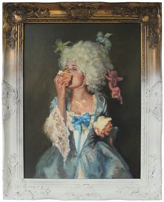 "I like the old frame partially painted. (Plus, the artwork, too. Artist: Laura Shull ""Cake"" Oil on Board Art And Illustration, Illustrations, Cultura Pop, Marie Antoinette, Diamond Are A Girls Best Friend, Art Inspo, Art History, Oil On Canvas, Art Drawings"