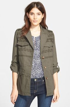 Joie 'Evandale' Embroidered Military Jacket available at #Nordstrom