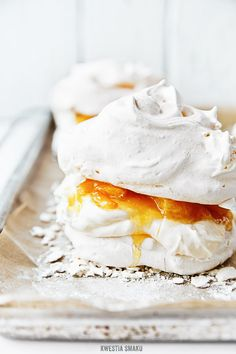 mini orange and cream pavlovas