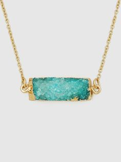 Natural Druzy Delicate Gold Plated Necklaces