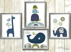 Kids wall art kids room decor baby nursery art turtle giraffe birds elephant whale Set of four prints by GalerieAnais  IMPORTANT: This is a set of prints made on matte photo paper that will need to be framed. Before ordering, make sure to read the shop policy for more info: