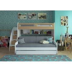 Gautreau Twin Bunk Bed over Full XL Sofa Bed, Table and Trundle Twin Futon, Futon Bunk Bed, Bunk Bed With Trundle, Full Bunk Beds, Bunk Beds With Stairs, Twin Xl Bedding, Bedding Sets, Loft Bed With Couch, Comforter