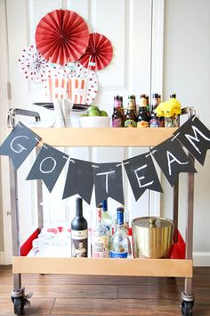 This DIY bar cart is perfect for easier beverage access during parties. Diy Bar Cart, Bar Carts, Fun Party Games, Party Trays, Graduation Celebration, Diy Party, Party Ideas, Party Entertainment, Holiday Parties