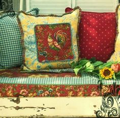 country french decor. Accent pillows. French rooster. A French country design element.