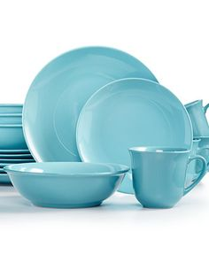 Martha Stewart Whim Collection Pool 16-Pc. Set, Service for 4 - Dinnerware - Dining & Entertaining - Macy's