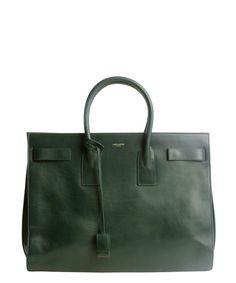 Saint Laurent : verde calfskin 'Sac De Jour' top handle bag : style # 333504801