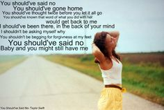 All the lyrics to your favorite country songs. Feel free to request your favorite songs/lyrics. By clicking on 'Tags' below, you can see all of the previous songs that we've done. Music Love, Love Songs, Music Is Life, Taylor Swift Album, Taylor Swift Quotes, Country Lyrics, Country Songs, Let It All Go, Song Quotes