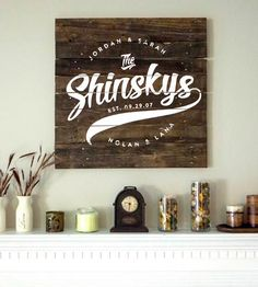 Reclaimed wood finds new life in this custom sign. Each wood sign is fashioned from old pallets and hand-painted with your own last name logo, first names (children included) and special date. And due to its reclaimed and hand-painted nature, each one will look a little different. Display it at weddings, receptions or, preferably, right above the fireplace.