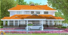 4040 square feet 4 bedroom Kerala traditional home plan by A-CUBE Builders & Developers, Thrissur, Kerala. Villa Plan, Prairie Style Houses, Kerala House Design, Kerala Houses, Gate House, Spanish Style Homes, Traditional House Plans, House Elevation, Beach House Decor