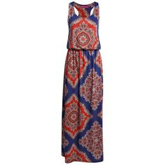 Boohoo Mellisa 70s Paisley Bagged Over Maxi Dress (13 OMR) ❤ liked on Polyvore featuring dresses, paisley maxi dress, racerback maxi dress, paisley day dress, lily pulitzer dress and paisley print dress