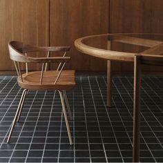 Dining chair / Scandinavian design / metal / wooden SPINDLE by BassamFellows Atelier Courbet