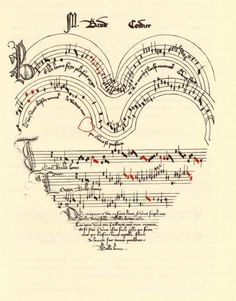 A gift of love, music written on a heart, manuscript c.1350-1400