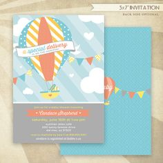 Custom Hot Air Balloon Baby Shower  PRINTABLE Invitation  by HWTM!