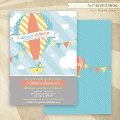 Custom Hot Air Balloon Baby Shower  PRINTABLE Invitation  by HWTM!
