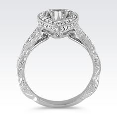 Vintage Pear-Shaped Halo Diamond Engagement Ring in 14k White Gold