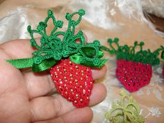 Carollyn's Tatting Blog: April 2013. She is selling her pattern for her Strawberry Pouch