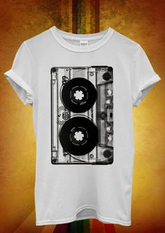 CASSETTE tape cassettes handmade high quality ditailed by hand screen printed white men women sweatshirt. via Etsy. Shirt Print Design, Tee Shirt Designs, Tank Top Shirt, T Shirt, Lacoste, Hipster Man, Dance Fashion, Cool Shirts, Printed Shirts