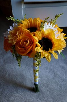 Sunflower Wedding Bouquet by SugarAndSassShop on Etsy, $75.00 This one is pretty. Like the yellow roses, too.
