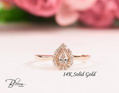 Rose Gold Halo Ring 14K Solid Gold Rose Gold Ring Pave Wedding