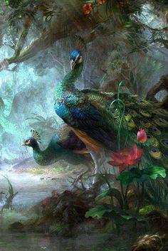 peacocks in the garden mist
