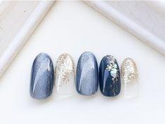 Sunset Gif, Gel Nails, Manicure, Japan Nail, Stylish Nails, Cool Nail Art, Blue Nails, Simple Nails, Wedding Nails