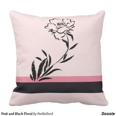 Pink and Black Floral Throw Pillow