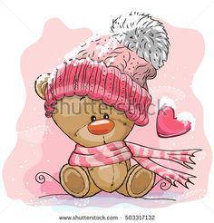 Cute Cartoon Teddy bear in a knitted cap sits on a snow
