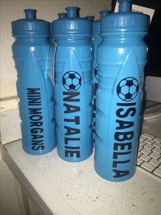 Soccer team water bottles