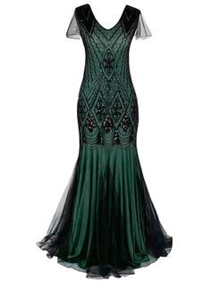 Green Cap Sleeve Sequin Evening Dress