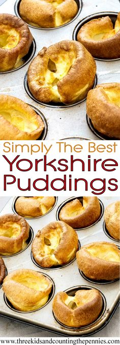 Simply The Best Yorkshire Puddings recipe: These are a staple of our Sunday Roast. And any roast dinner without Yorkies is seriously lacking. Simply The Best Yorkshire Puddings - Simply The Best Yorkshire Pudding / Yorkies / Popover Recipe Good Food, Yummy Food, Tasty, Beaux Desserts, Muffin Tin Recipes, Muffin Tin Meals, Muffin Tins, Gula, Puddings