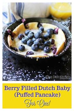 This berry filled Dutch Baby is perfect for breakfast or dessert. Also called a Puffed Pancake, this wonderful treat is a cross between a pancake and a crepe. It& baked in a mini skillet and is the perfect amount for anyone cooking for one. Pancake Fillings, Puff Pancake, Dutch Baby Recipe, Easy Biscuit Recipe, Cooking For One, Easy Cooking, Cooking Recipes, Pancakes For One, Baby Puffs