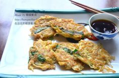 Korean enoki mushroom pancakes vegetable fritters 韓式金針菇煎餅 팽이버섯전食譜、作法 | 韓國餐桌的多多開伙食譜分享