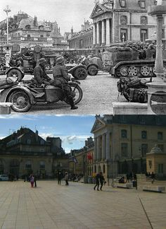 Past summer, Pierre Mazille found a collection of photographs from World War 2 of his hometown Dijon, France. He decided to reshoot the pictures to show what the places look like today, 70 years later. An interesting WWII Now & Then travel. Dijon France, The Duke Of Burgundy, Then And Now Photos, Free In French, Powerful Images, Tourist Spots, World History, Military History, World War Two