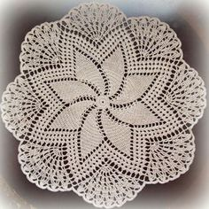 Ecru/Natural Crochet Doily--Pretty Pinwheel and Topper Crochet Snowflake Pattern, Crochet Doily Diagram, Crochet Lace Edging, Crochet Mandala, Crochet Chart, Thread Crochet, Filet Crochet, Crochet Stitches, Crochet Motif