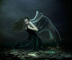 Season of the angels by DeniseWorisch on DeviantArt Gothic Angel, Gothic Vampire, Ange Demon, Demon Art, Sad Angel, Gothic Fantasy Art, Dark Wings, Beautiful Dark Art, Angel Aesthetic