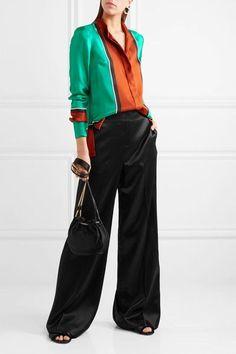 Diane von Furstenberg - Color-block Silk-satin Shirt - Orange - US