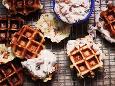 Cinnamon Roll Waffles with Bacon-Apple Frosting