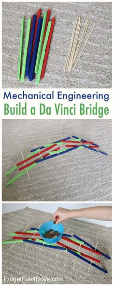 STEM Activity for Kids - Build a Da Vinci Bridge with Popsicle Sticks.  Great for studying engineering with kindergarten, first grade and second grade.