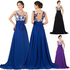 GK Sleeveless Chiffon Ball Gown Evening Prom Party Dress 8 Size US 2~16 CL007512. This astonishing gown features a boat neckline and hollowed back, the sheer top wraps over the sweetheart bodice.Both front and back are adorned with sequins, beadings and appliques.A full skirt gives a gorgeous finish to this ensemble. | eBay!