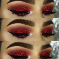 How To remove waterproof eyeliner? Make up eyes - If eyeliner and mascara are waterproof, this places special demands on your eye make-up remover. Eye Makeup Glitter, Red Eye Makeup, Skin Makeup, Red Makeup Looks, Matte Makeup, Makeup For Red Dress, Glitter Gel, Black And Red Makeup, Eye Shadow Glitter