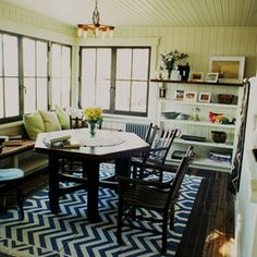 rustic cabin sitting room, white wood, blue and white