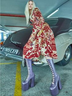 Marique Schimmel wears Miu Miu embellished velvet coat and Marc Jacobs leather boots for ELLE Magazine UK November 2016 issue