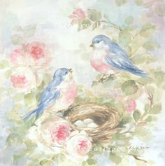 """Romantic Bluebirds and Roses """"Our Nest"""" Canvas Print by Debi Coules - Debi Coules Romantic Art"""