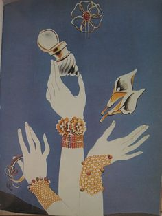 Schiaparelli 1937 Swoon over the gauntlet bracelets & Love the shell inspired powder puff !!