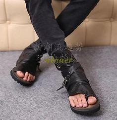 7218c8e82b02 Mens Gladiator Genuine Leather Thong High Top Roma Beach Flip Flops Sandal  Shoes