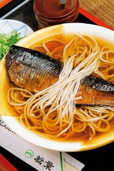 Nishin Soba (a bowl of buckwheat noodle in hot soup served with stewed herring on top) from Kyoto, Japan にしんそば