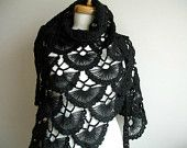 Black Shawl, Fall and Winter ,  Fashion, Black Triangle Shawl By Crochetlab, Mohair, Ready To Ship, Gift for Her