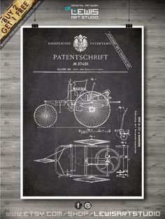 Motorwagen BENZ poster Motorwagen BENZ patent by LewisArtPrints