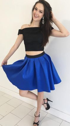 two piece short homecoming dress, 2017 homecoming dress, off the shoulder short homecoming dress, black and royal blue homecoming dress