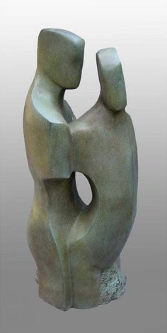 Bronze resin Couples or Group sculpture by artist John Brown titled: 'Constancy (Abstract figurative bronze resin statue)' £2100 #sculpture #art